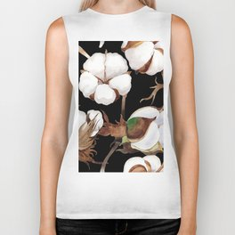 Cotton Flower Pattern 03 Biker Tank