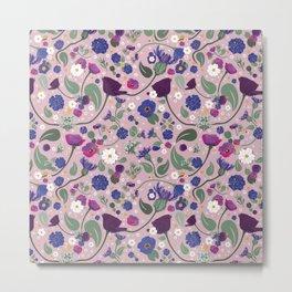 Pink Scandinavian summer floral Metal Print