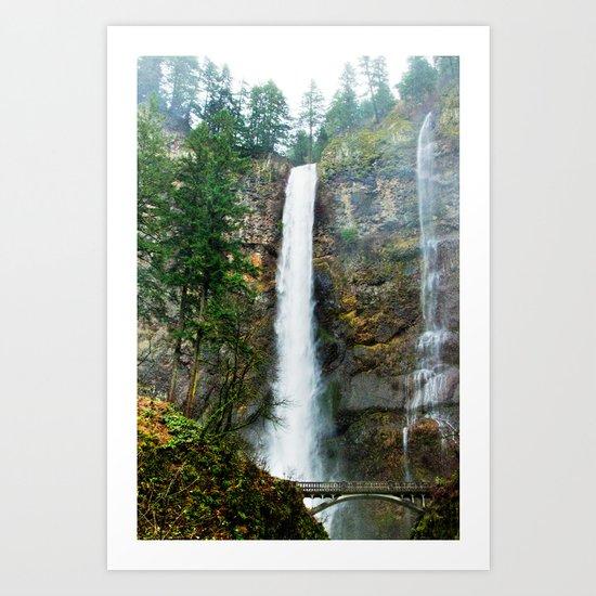 Multnomah Falls in Winter Art Print