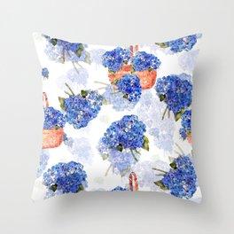 Cape Cod Hydrangeas and Baskets Throw Pillow
