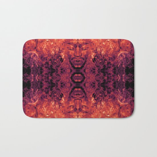 Brother Meditation - red purple Bath Mat