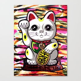 Maneki Neko lucky fortune beckoning japanese waving feng shui kitty for wealth gold moderngift Canvas Print