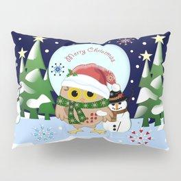 Santa Owl and his Snowman friend Pillow Sham