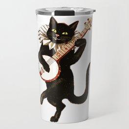 Black Halloween Cat for Decor and T Shirts Travel Mug