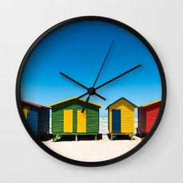 Hightech beach huts Wall Clock