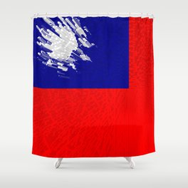 Extruded flag of Taiwan Shower Curtain