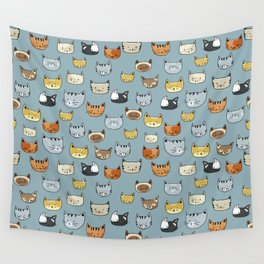 Cat Face Doodle Pattern Wall Tapestry