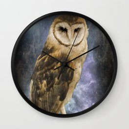 Wise Old Owl - Bird Art Wall Clock