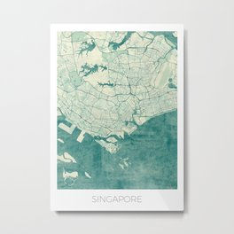 Singapore Map Blue Vintage Metal Print