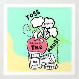 Toss the Meds by Rosalie - Zine Page Art Print