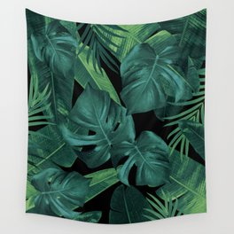 Tropical Summer Night Jungle Leaves Dream #1 #tropical #decor #art #society6 Wall Tapestry