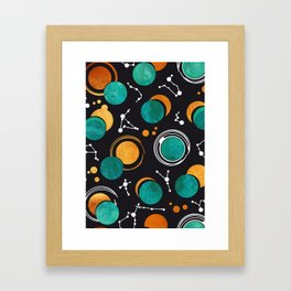 Great Total Solar Eclipse II // turquoise green moons Framed Art Print
