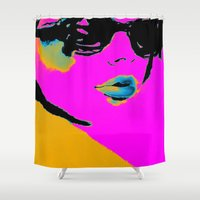 chic Shower Curtains featuring Pink Chic by Simon Falk