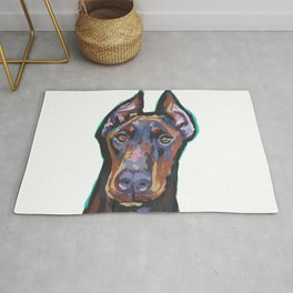 Fun Doberman Pinscher Dog Portrait bright colorful Pop Art by LEA Rug