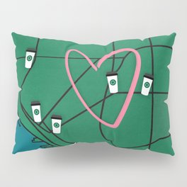 Seattle Starbucks Coffee Shop Map Pillow Sham