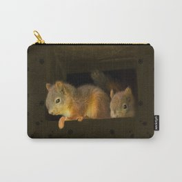 Young squirrels peering out of a nest #decor #buyart #society6 Carry-All Pouch
