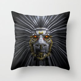 Hear Me Roar / 3D render of serious metallic robot lion Throw Pillow