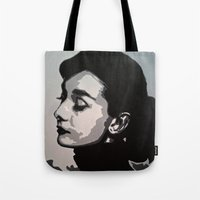 audrey Tote Bags featuring Audrey by AUSKMe2Paint