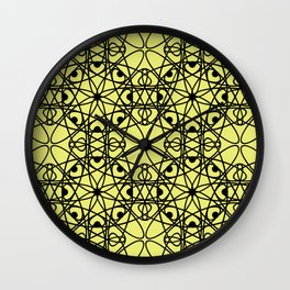 Black fishnet pattern on a bright yellow background Wall Clock