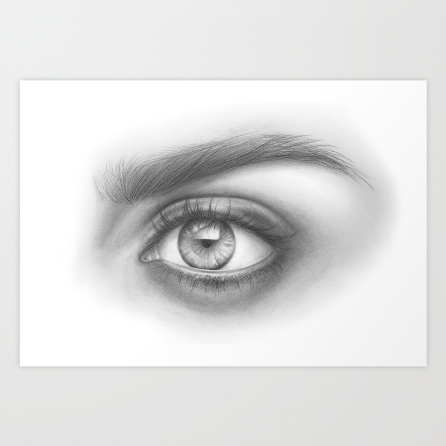 Eye art sexy girl beauty model woman face graphite drawing pencil black and white art art print