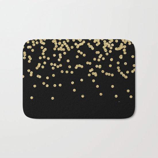 Sparkling gold glitter confetti on black - Luxury design Bath Mat