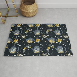 Cute Teapot & Floral Pattern Rug