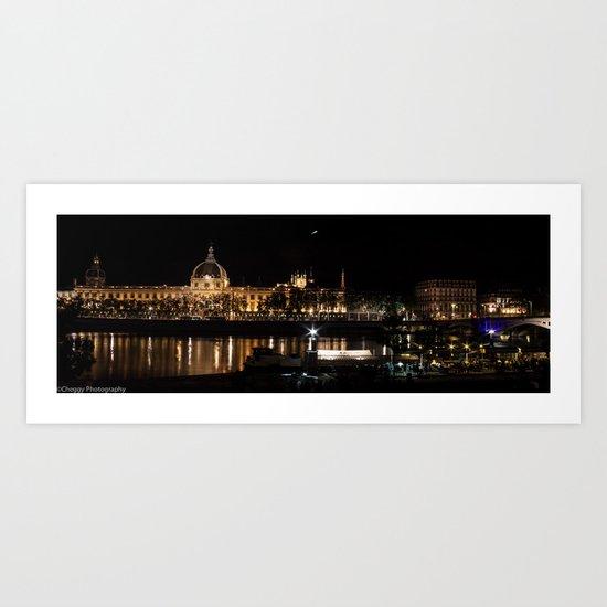 City of Lyon at night.  Art Print