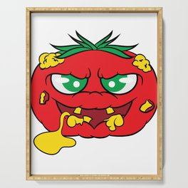 """""""Toxic tomato"""" tee design. Creepy and freaky shirt perfect to mock your friends this holiday!  Serving Tray"""