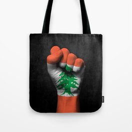 Lebanese Flag on a Raised Clenched Fist Tote Bag