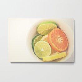 Citrus on White Metal Print