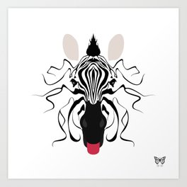 Zebra Tongues Out Art Print