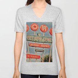 Freeway Lanes Bowl - Selma, CA Unisex V-Neck