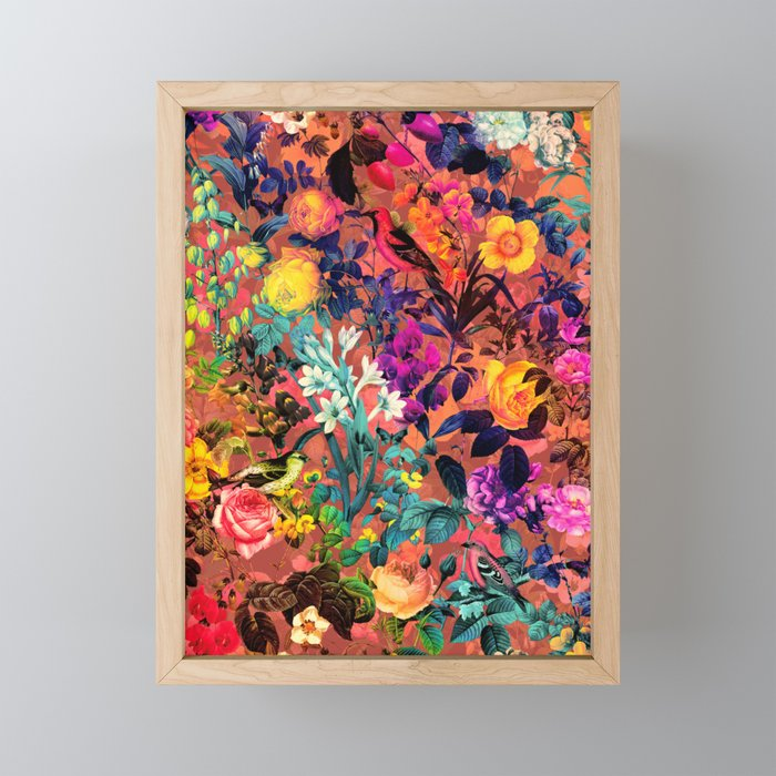 Floral and Birds II Framed Mini Art Print