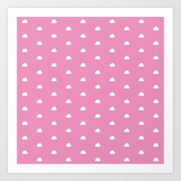 Hot pink background with small white clouds pattern Art Print