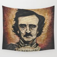 poe Wall Tapestries featuring Poe by Colunga-Art