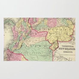 Vintage Map of Venezuela, Ecuador, Colombia (1855) Rug