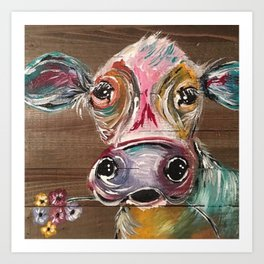 Gorgeous Cow on Wood Art Print
