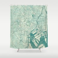 vintage map Shower Curtains featuring Tokyo Map Blue Vintage by City Art Posters