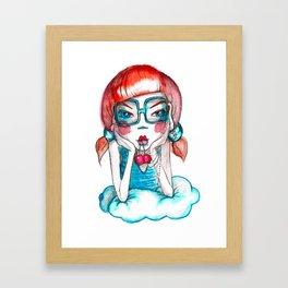 girl with cherry Framed Art Print
