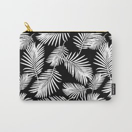 Tropical Palm Leaves Black And White Minimalistic Pattern Carry-All Pouch