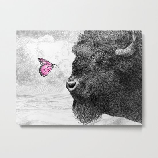 Bison and Butterfly Metal Print
