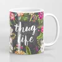 purple Mugs featuring Thug Life by Text Guy