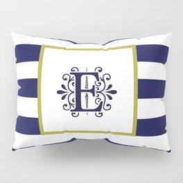 Monogram Letter E Navy Blue and White Stripes Pillow Sham