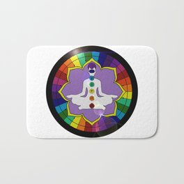 Colorful Chacara's mandala meditation Bath Mat