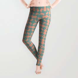 Tuscan Tile Pattern Modern Geometric Turquoise and Peach Leggings