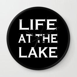 Life at the lake - black and white Wall Clock