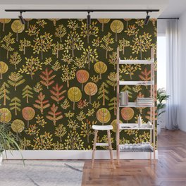 Watercolor autumn forest in doodle style Wall Mural
