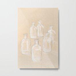 White Bottles Sketch Metal Print