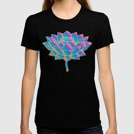Blue Rainbow Lotus Holly Flower T-shirt