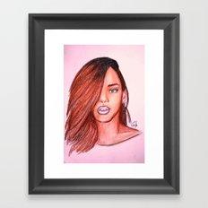 Rihanna Navy Framed Art Print